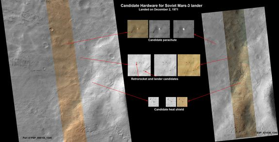 SPACE.com/NASA/JPL-Caltech/Univ. of Arizona - This set of images shows what might be hardware from the Soviet Union's 1971 Mars 3 lander, seen in a pair of images from the High Resolution Imaging Science Experiment (HiRISE) camera on NASA's Mars Reconnaissance Orbiter