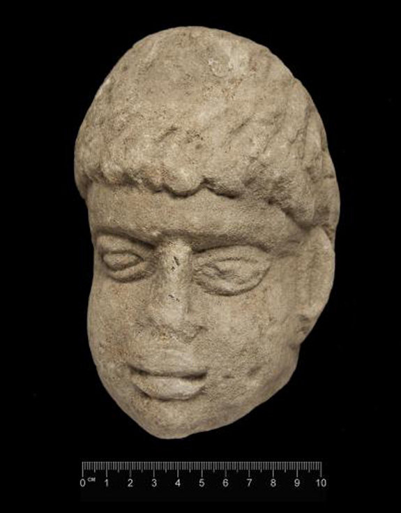 A stone head possibly depicting a Roman god was found by Durham University archaeologists at Binchester …