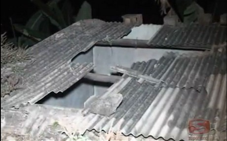 The damaged roof