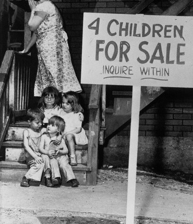 Children for sale in Chicago, 1948.  Some parents sold their children due to poverty.