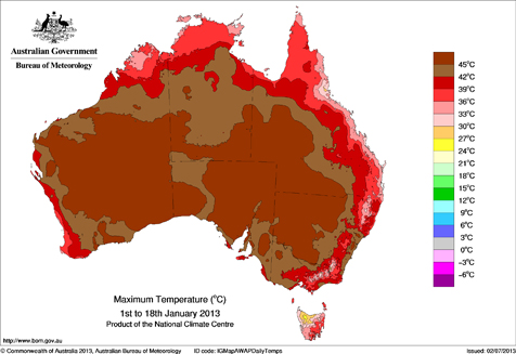 Chart showing maximum temperatures reached across Australia during 2012/13 summer heatwave